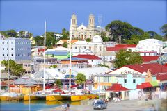 St John`s and a cruise port in Antigua, Caribbean. Panorama of St John`s and cruise port in Antigua, Caribbean stock image