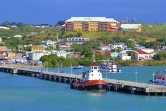 St John`s and a cruise port in Antigua, Caribbean. Panorama of St John`s and cruise port in Antigua, Caribbean royalty free stock image