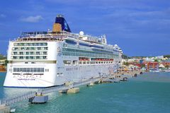 St John`s and a cruise port in Antigua, Caribbean. Panorama of St John`s and cruise port in Antigua, Caribbean stock photos