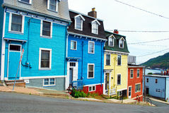 St. John's downtown. Colourful houses in St. John's Newfoundland Canada royalty free stock photo