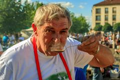 Baja, Bács-Kiskun, Hungary. St. John`s festival in Baja. On the occasion of St. John`s, there is a competition between different neighborhoods who can cook the Royalty Free Stock Photos