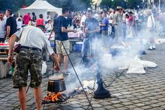 Baja, Bács-Kiskun, Hungary. St. John`s festival in Baja. On the occasion of St. John`s, there is a competition between different neighborhoods who can cook the Royalty Free Stock Photo