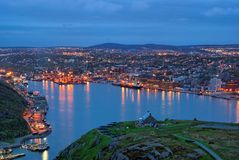 St-John's harbour at night. St-John's harbour, Newfoundland at night stock images