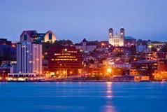 St. John's, Newfoundland. Downtown St-John's, Newfoundland at night stock images