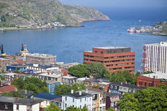 St. John's, Newfoundland. View of St. John's, Newfoundland, the harbor and Signal Hill Stock Images