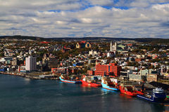 St. John's Newfoundland Harbour and Town. St. John's Newfoundland. Visible are Basilica of St. John's the Baptist, The Rooms, St. Andrew's Church, St. John?s Royalty Free Stock Images
