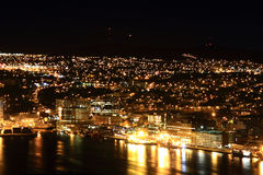 St. John's Newfoundland at Night. Night picture of St. John's, Newfoundland, Canada - Town and Harbor royalty free stock photography