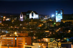 St. John's, Newfoundland. A night view of downtown St. John's, Newfoundland, Canada.  The museum and art gallery 'The Rooms' is the large building on the upper Stock Photography