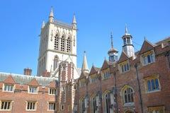 St John ` s szkoły wyższa uniwersytet Drugi sąd z St John ` s szkoły wyższa kaplicą w tle Obraz Stock