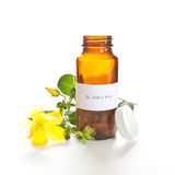 St. John's Wort capsules. With a Hypericum perforatum plant on white. The label was made for the photo shoot, no copyright or brand name infringement issues Royalty Free Stock Images