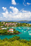 St. John, USVI - Beautiful Blue Skies in Cruz Bay Stock Image