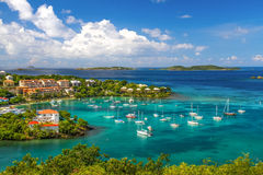 St. John, USVI - Beautiful Cruz Bay. A wonderfully colorful view from above the fleet of sailboats and yachts anchored the harbor in Cruz Bay on the island of St