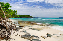 St. John, USVI - Beautiful Hawksnest Beach. A gorgeous view from Hawksnest Beach on the island of St. John, in the US Virgin Islands looking towards Congo Cay stock images