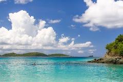 St John, USVI-Boomstambaai Onderwater snorkelt Sleep Royalty-vrije Stock Foto's