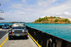 St. John, USVI - Car Ferry Into Cruz Bay Royalty Free Stock Photos