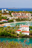 St. John, USVI - Cruz Bay Hotels and Resorts. A gorgeous view from above the hotels, condos and resorts in Cruz Bay on the island of St. John, in the US Virgin Stock Photo