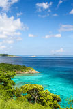 St. John, USVI Looking at British Virgin Islands. Amazing views of the colorful Caribbean Sea and the Caraval Rock and Little Tobago Island of the British Virgin Stock Photos