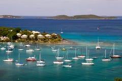 St. John, USVI - de Jachten en de Zeilboten van de Baai Cruz Stock Foto's