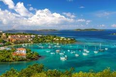 St John USVI - härliga Cruz Bay Royaltyfria Foton
