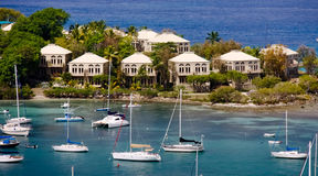 St. John, USVI - Sailboats and Waterfront Condos Royalty Free Stock Photo
