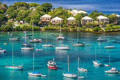 St. John, USVI - Sailboats and Waterfront Villas Royalty Free Stock Image
