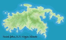 St John Virgin Islands Mapa del vector Mapa geográfico detallado con Libre Illustration