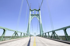 St Johns Bridge Against Clear Blue Sky. From the Middle of the Freeway in Portland Oregon Royalty Free Stock Photography
