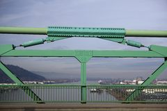 St. Johns Bridge Railing over Willamette River Royalty Free Stock Photos