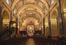 St. Johns Co-Cathedral inside, La Valletta, Malta. Catholic cathedral of St.John interior view royalty free stock image