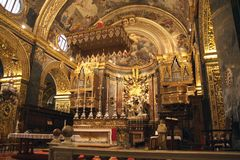 St. Johns Co-Cathedral inside, La Valletta, Malta. Catholic cathedral of St.John interior view stock photos