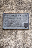 St Johns Cross Plaque in Edinburgh. A wall plaque on Canongate, detailing the former site of the original St. Johns Cross along the Royal Mile in Edinburgh Royalty Free Stock Image