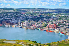St Johns Harbour in Newfoundland Canada.  Panoramic view, Warm summer day in August. Royalty Free Stock Images