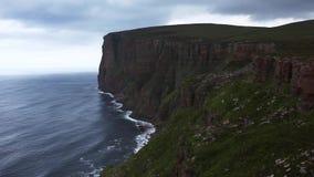 St Johns Head sea cliffs in Orkney, Scotland stock video