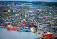 St. Johns, Newfoundland. A birdseye view of St. Johns, the capital and largest city of Newfoundland, one of Canada's Atlantic provinces. The city is known stock photos