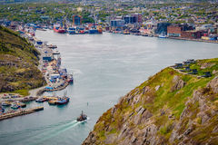 St. Johns, Newfoundland. A birdseye view of the harbor entry to St. Johns, the capital and largest city of Newfoundland, one of Canada's Atlantic provinces Stock Photos