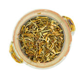 St. Johns Wort shredded herb in bowl Stock Image