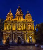 St. Joseph Cathedral at night time, Beijing, China, also known as the Orient Cathedral, built in 1655 royalty free stock image