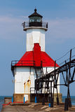 St. Joseph Lighthouse. One of two of the St. Joseph, Michigan North Pierhead Lights with elevated catwalk approach Royalty Free Stock Photos
