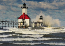 St. Joseph Lighthouse, St. Joseph Michigan de V.S. Stock Foto's