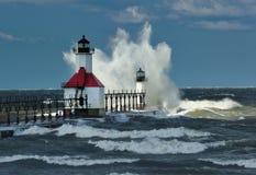 St. Joseph Lighthouse Storm, Michigan USA. Gale force winds pound the St. Joseph Lighthouse in this late Autumn storm. Taken in St. Joseph Michigan,USA Stock Photo
