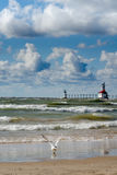 St Joseph lighthouse on a windy day Stock Photos