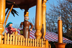 St joseph and Mary wood puppets on a christmas carousel in Berli Royalty Free Stock Photo