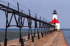 St. Joseph, Michigan Lighthouse. North Pier Light with elevated catwalk approach in St. Joseph, Michigan Stock Photos