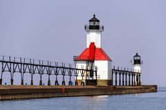 St. Joseph, Michigan North Pier Lights Royalty Free Stock Images