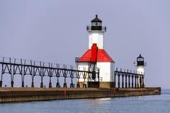 St. Joseph, Michigan Północni Mola Światła Obrazy Royalty Free