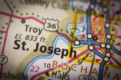 St Joseph, Missouri sur la carte Photos stock