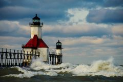 St. Joseph North Pier Lighthouse. After a strom Royalty Free Stock Photography