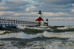 St. Joseph North Pier Lighthouse. After a strom Royalty Free Stock Images