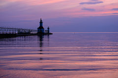 St Joseph North Pier Lights, bouwde 1906-1907 in Stock Afbeelding