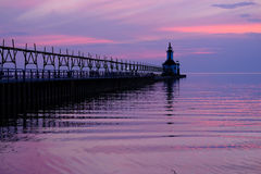 St. Joseph North Pier Lights, built in 1906-1907. Lake Michigan, MI, USA Stock Photography
